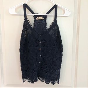 Hollister Navy Lace Tank Top